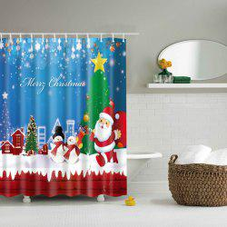 Merry Christmas Polyester Waterproof Bath Decor Shower Curtain - COLORMIX L