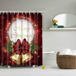 Christmas Bell Polyester Waterproof Bath Decor Shower Curtain - DEEP RED