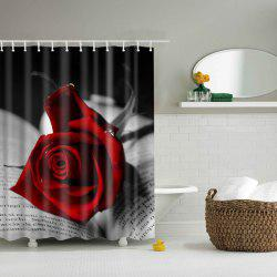 Rose Polyester Waterproof Bath Decor Shower Curtain -