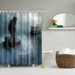 Mermaid Pattern Mouldproof Waterproof Shower Curtain - BLACKISH GREEN
