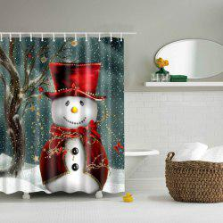 Christmas Snowman Mouldproof Waterproof Bathroom Shower Curtain - COLORMIX