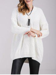 V Neck Loose Chunky Sweater - WHITE ONE SIZE