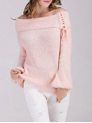 Off The Shoulder Puff Sleeve Sweater -