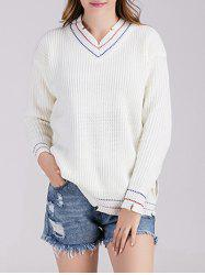 V Neck Pullover Chunky Sweater -