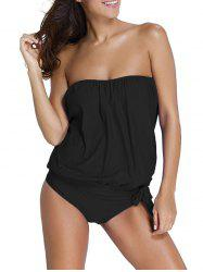 Strapless Tankini with Padded Bra - BLACK