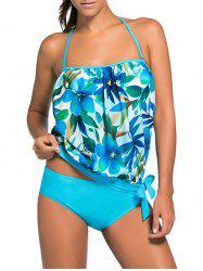 Halter Floral Hawaiian Tankini with Padded Bra - AZURE