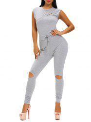 Drawstring Zipper Design Hole Tight Jumpsuit