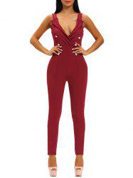 Plunging Neck Buttoned Tight Jumpsuit -