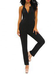 Plunging Neckline Skinny Backless Jumpsuit - BLACK L