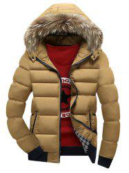 Zip Up Quilted Jacket with Fur Trim Hood -