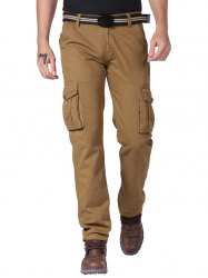 Zipper Fly Cargo Pants with Multi Pockets -