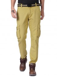 Straight Leg Cargo Pants with Button Pockets -