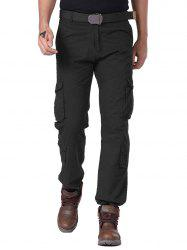Multi Flap Pockets Drawstring Cuff Cargo Pants