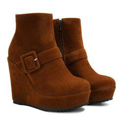 Belt Buckle Zipper Platform Ankle Boots -