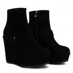 Belt Buckle Zipper Platform Ankle Boots