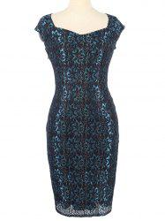 Flower Lace Fitted Sheath Formal Dress