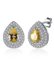 Teardrop S925 Diamond Stud Earrings - YELLOW