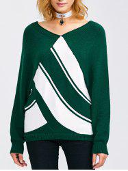 Raglan Sleeve Color Block V Neck Sweater