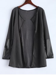 Long Sleeve PU Leather Panel Cardigan