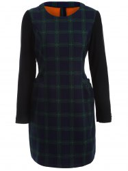 Plaid Pocket Design Flocking Dress