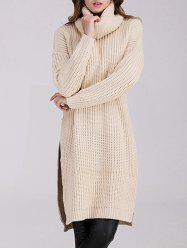 Long Sleeve Chunky Turtleneck Slit Sweater Dress