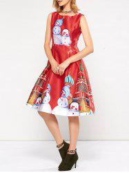 Sleeveless Snowman Christmas Skater Party Dress -