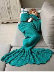 Winter Thicken Knitted Wrap Sofa Mermaid Blanket - GREEN