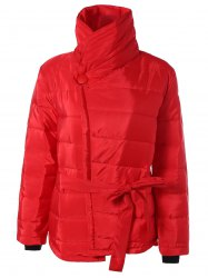 Self Tie Asymmetric Short Padded Down Jacket