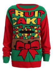 Christmas Fruit Cake Pattern Plus Size Sweater - RED AND GREEN