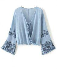 Flare Sleeve Embroidered Vintage Blouse - BLUE L