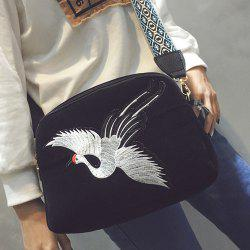 Colour Splicing Embroidery Zipper Crossbody Bag