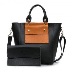 Color Blocking Tote With Clutch Bag -