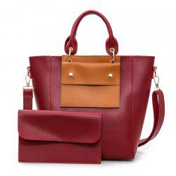 Color Blocking Tote With Clutch Bag