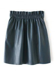 PU Elastic Waist Mini Skirt - LAKE BLUE