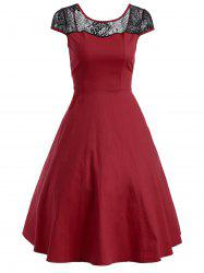 Floral Lace Panel Swing Dress - RED 2XL