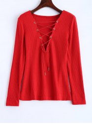 Lace Up Ribbed Jumper - RED XL