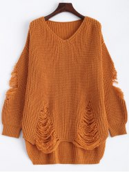 Pullover Ripped V Neck Sweater - EARTHY