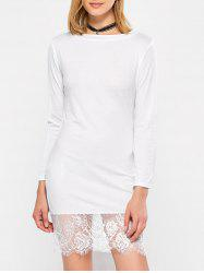 Slash Neck Long Sleeve Lace Spliced Dress - WHITE