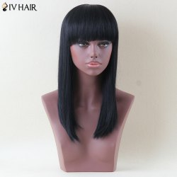 Siv Hair Long Full Bang Straight Human Hair Wig -