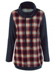 Plaid Trim Elbow Patch Sweatshirt