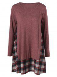 Plaid Trim Smock Dress