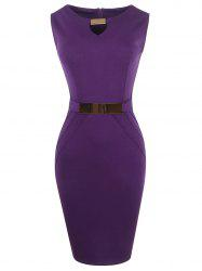 Metal Ruffled Cut Out Bodycon Sleeveless Dress -