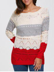 Color Block Hollow Out Sweater -