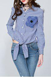 Patched Tied Stripe Shirt