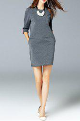 Round Neck Pocket Dress - GRAY L
