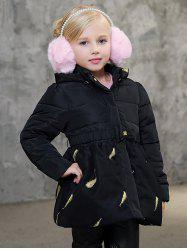 Girls Hooded Leaves Print Puffer Jacket -