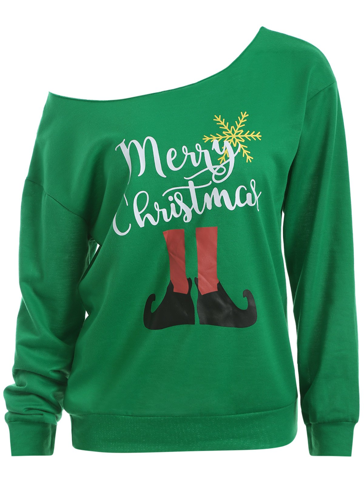 Image of Skew Neck Christmas Graphic Green Sweatshirt