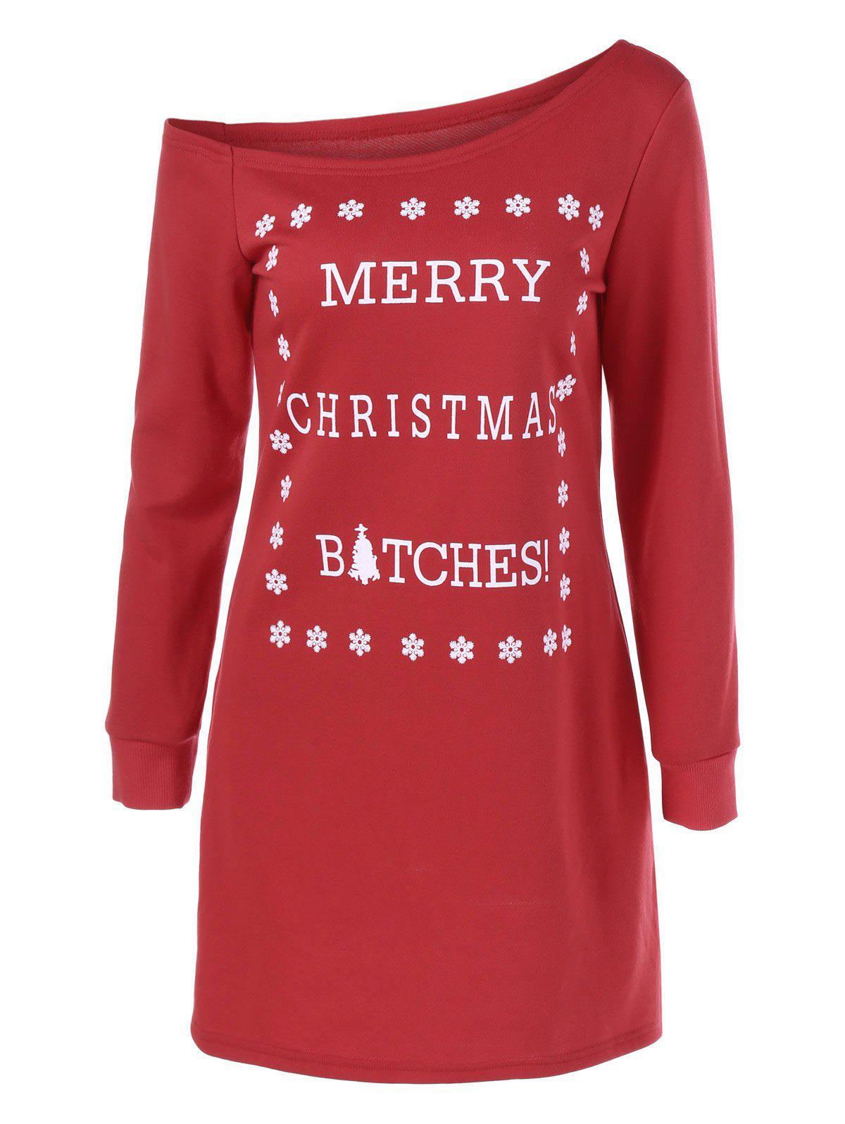 Christmas Snowflake Print Shift Tee DressWOMEN<br><br>Size: L; Color: RED; Style: Brief; Material: Polyester; Silhouette: Sheath; Dresses Length: Mini; Neckline: Skew Collar; Sleeve Length: Long Sleeves; Pattern Type: Letter; With Belt: No; Season: Fall,Spring; Weight: 0.420kg; Package Contents: 1 x Dress;