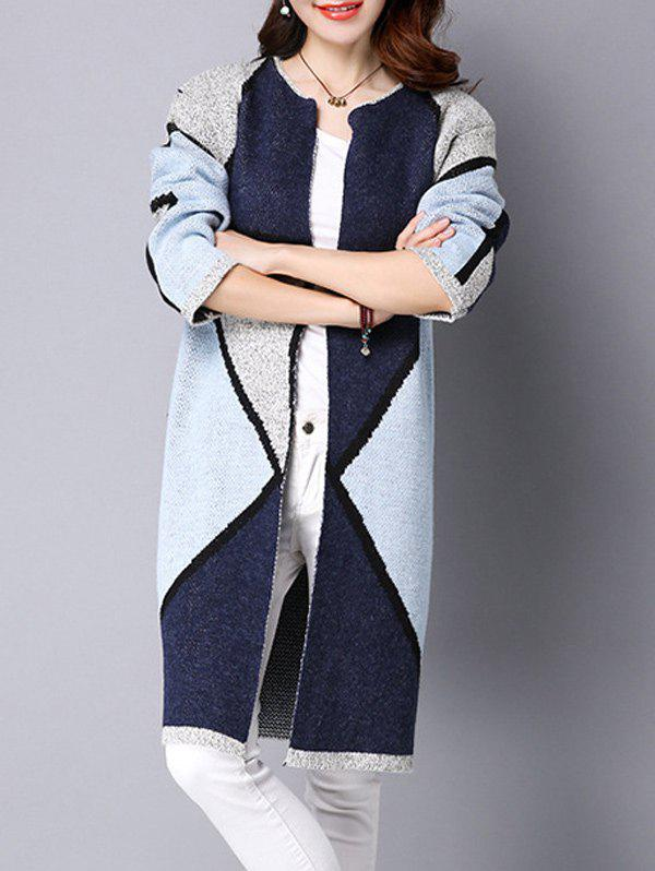 Chic Color Block Thick Long Knitted Coat