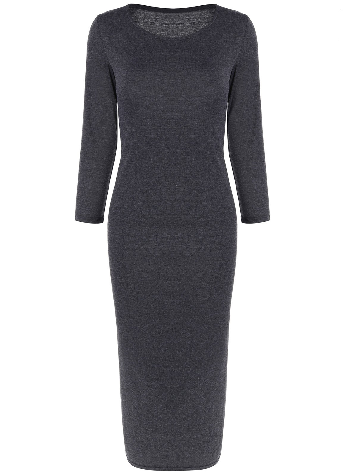Chic Long Sleeve Slim Fitted Midi Dress